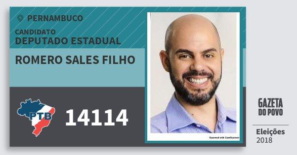 Santinho Romero Sales Filho 14114 (PTB) Deputado Estadual | Pernambuco | Eleições 2018
