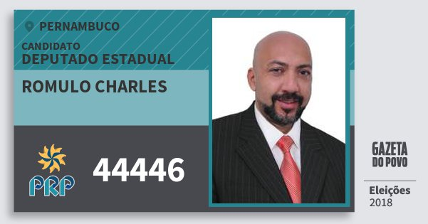 Santinho Romulo Charles 44446 (PRP) Deputado Estadual | Pernambuco | Eleições 2018