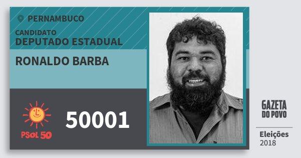 Santinho Ronaldo Barba 50001 (PSOL) Deputado Estadual | Pernambuco | Eleições 2018