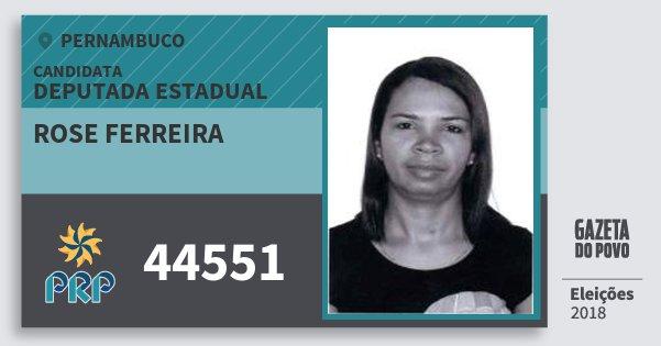 Santinho Rose Ferreira 44551 (PRP) Deputada Estadual | Pernambuco | Eleições 2018