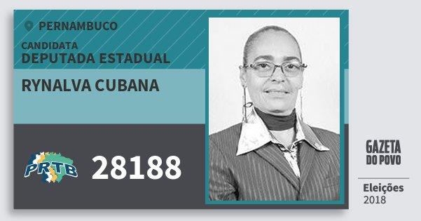 Santinho Rynalva Cubana 28188 (PRTB) Deputada Estadual | Pernambuco | Eleições 2018