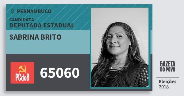 Santinho Sabrina Brito 65060 (PC do B) Deputada Estadual | Pernambuco | Eleições 2018