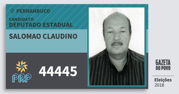 Santinho Salomao Claudino 44445 (PRP) Deputado Estadual | Pernambuco | Eleições 2018