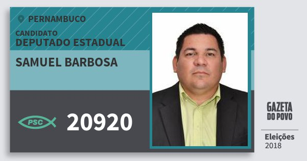 Santinho Samuel Barbosa 20920 (PSC) Deputado Estadual | Pernambuco | Eleições 2018
