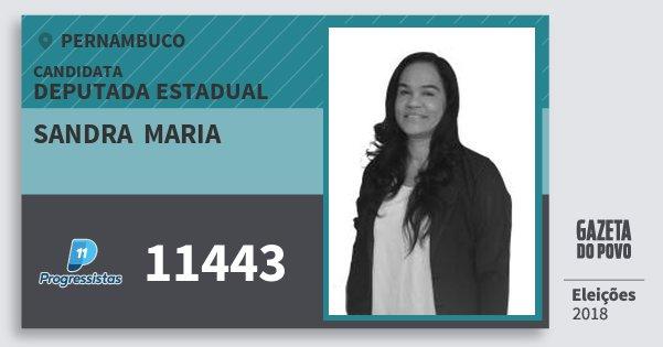 Santinho Sandra  Maria 11443 (PP) Deputada Estadual | Pernambuco | Eleições 2018