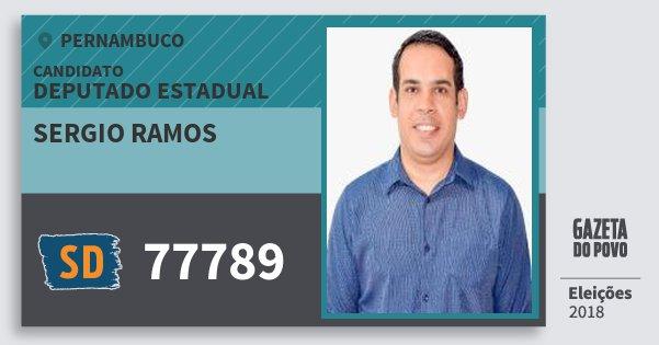 Santinho Sergio Ramos 77789 (SOLIDARIEDADE) Deputado Estadual | Pernambuco | Eleições 2018