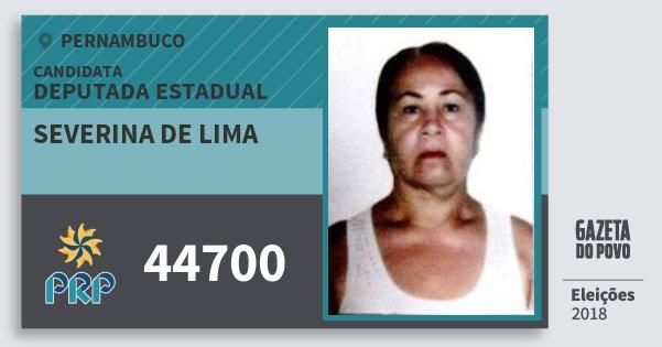 Santinho Severina de Lima 44700 (PRP) Deputada Estadual | Pernambuco | Eleições 2018