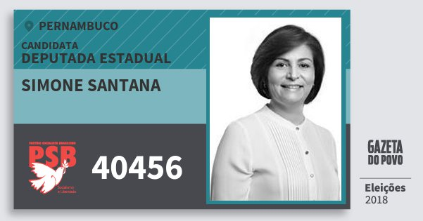 Santinho Simone Santana 40456 (PSB) Deputada Estadual | Pernambuco | Eleições 2018