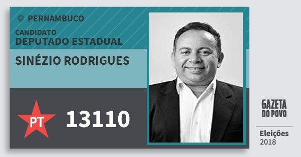 Santinho Sinézio Rodrigues 13110 (PT) Deputado Estadual | Pernambuco | Eleições 2018