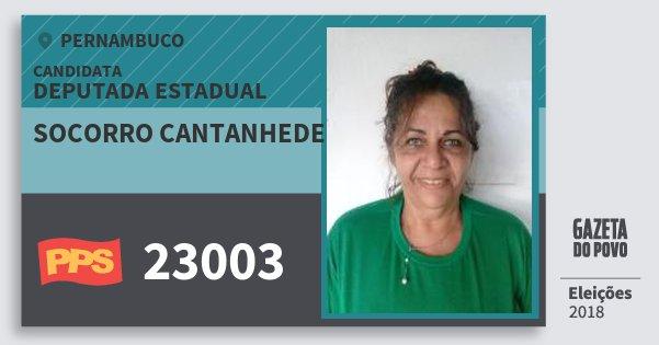 Santinho Socorro Cantanhede 23003 (PPS) Deputada Estadual | Pernambuco | Eleições 2018