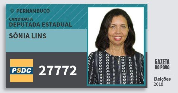 Santinho Sônia Lins 27772 (DC) Deputada Estadual | Pernambuco | Eleições 2018