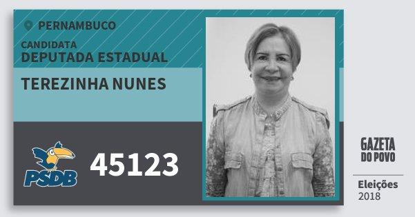 Santinho Terezinha Nunes 45123 (PSDB) Deputada Estadual | Pernambuco | Eleições 2018