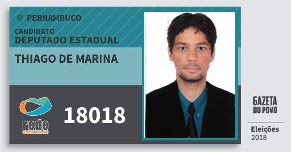 Santinho Thiago de Marina 18018 (REDE) Deputado Estadual | Pernambuco | Eleições 2018