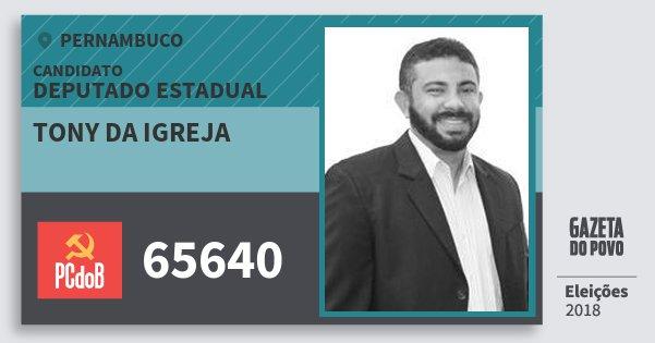 Santinho Tony da Igreja 65640 (PC do B) Deputado Estadual | Pernambuco | Eleições 2018