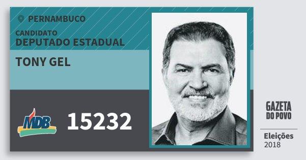 Santinho Tony Gel 15232 (MDB) Deputado Estadual | Pernambuco | Eleições 2018