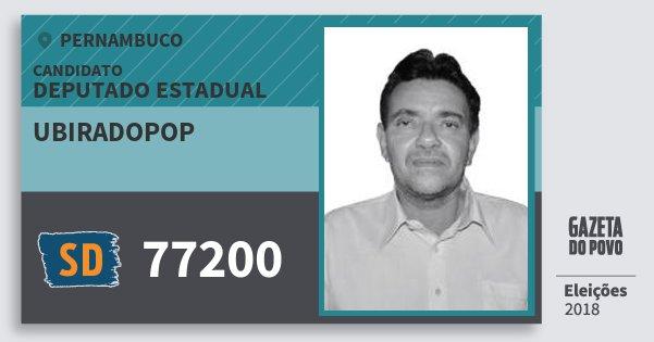 Santinho Ubiradopop 77200 (SOLIDARIEDADE) Deputado Estadual | Pernambuco | Eleições 2018