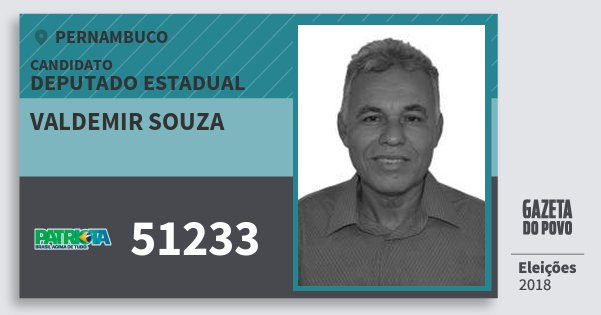 Santinho Valdemir Souza 51233 (PATRI) Deputado Estadual | Pernambuco | Eleições 2018