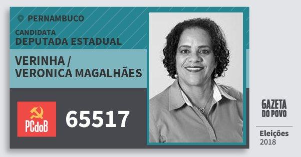 Santinho Verinha / Veronica Magalhães 65517 (PC do B) Deputada Estadual | Pernambuco | Eleições 2018
