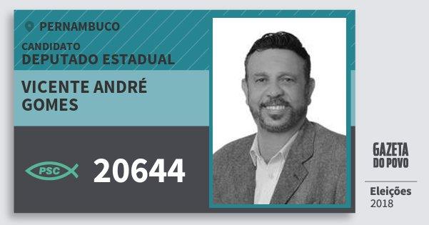 Santinho Vicente André Gomes 20644 (PSC) Deputado Estadual | Pernambuco | Eleições 2018