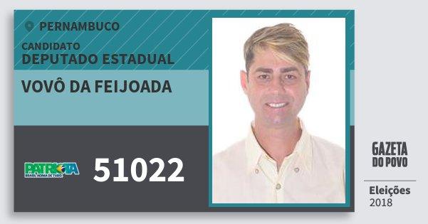Santinho Vovô da Feijoada 51022 (PATRI) Deputado Estadual | Pernambuco | Eleições 2018
