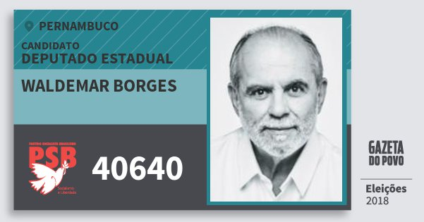 Santinho Waldemar Borges 40640 (PSB) Deputado Estadual | Pernambuco | Eleições 2018