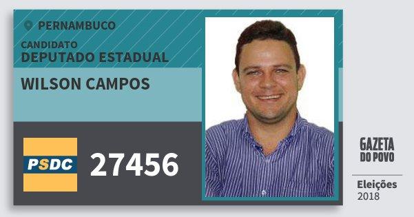 Santinho Wilson Campos 27456 (DC) Deputado Estadual | Pernambuco | Eleições 2018
