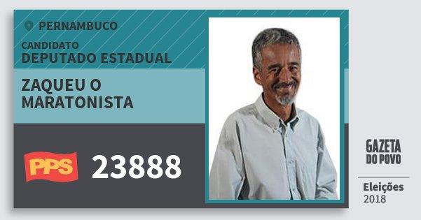 Santinho Zaqueu O Maratonista 23888 (PPS) Deputado Estadual | Pernambuco | Eleições 2018