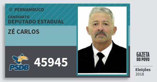 Santinho Zé Carlos 45945 (PSDB) Deputado Estadual | Pernambuco | Eleições 2018