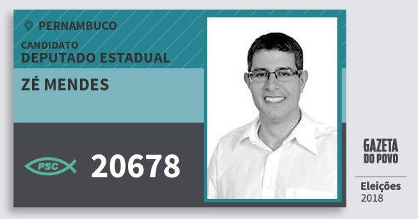 Santinho Zé Mendes 20678 (PSC) Deputado Estadual | Pernambuco | Eleições 2018