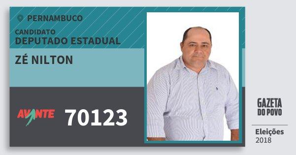 Santinho Zé Nilton 70123 (AVANTE) Deputado Estadual | Pernambuco | Eleições 2018