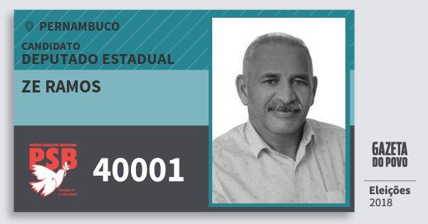 Santinho Ze Ramos 40001 (PSB) Deputado Estadual | Pernambuco | Eleições 2018
