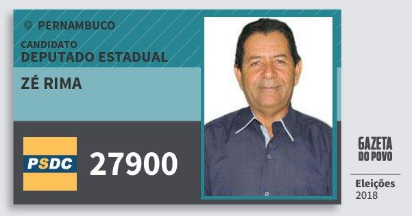 Santinho Zé Rima 27900 (DC) Deputado Estadual | Pernambuco | Eleições 2018