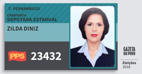 Santinho Zilda Diniz 23432 (PPS) Deputada Estadual | Pernambuco | Eleições 2018