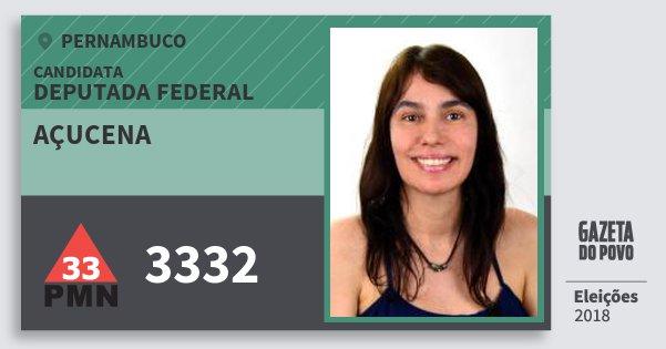 Santinho Açucena 3332 (PMN) Deputada Federal | Pernambuco | Eleições 2018
