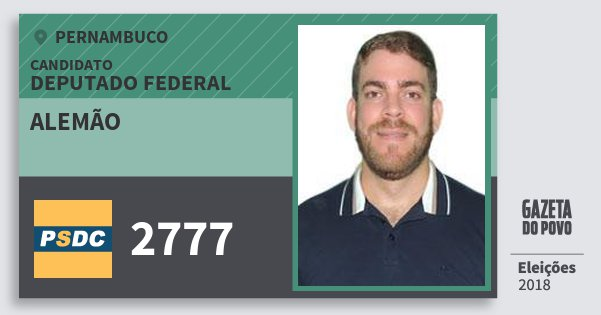 Santinho Alemão 2777 (DC) Deputado Federal | Pernambuco | Eleições 2018