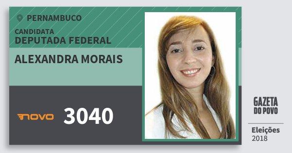 Santinho Alexandra Morais 3040 (NOVO) Deputada Federal | Pernambuco | Eleições 2018