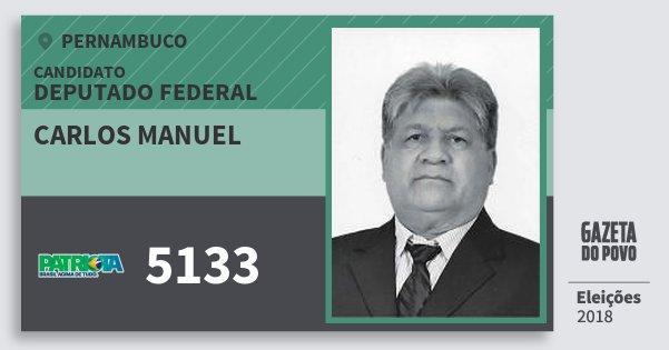 Santinho Carlos Manuel 5133 (PATRI) Deputado Federal   Pernambuco   Eleições 2018