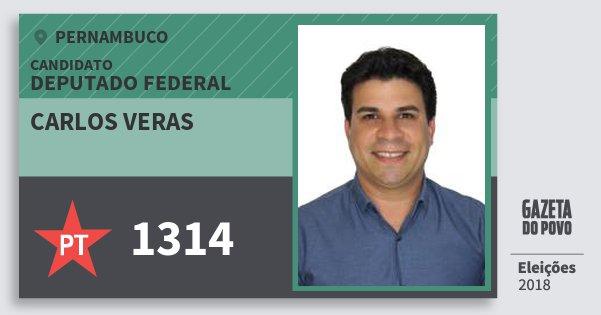 Santinho Carlos Veras 1314 (PT) Deputado Federal   Pernambuco   Eleições 2018