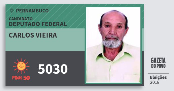 Santinho Carlos Vieira 5030 (PSOL) Deputado Federal   Pernambuco   Eleições 2018
