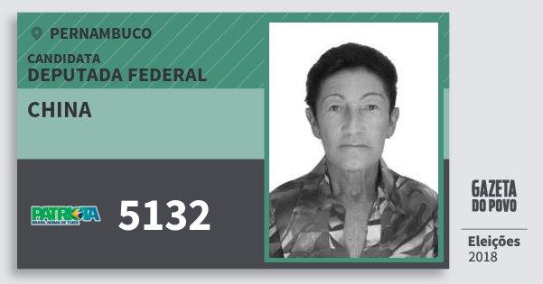 Santinho China 5132 (PATRI) Deputada Federal | Pernambuco | Eleições 2018