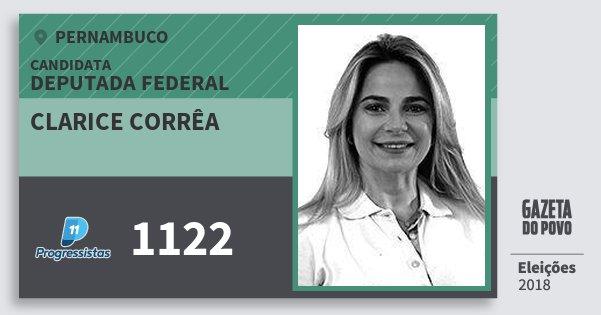 Santinho Clarice Corrêa 1122 (PP) Deputada Federal | Pernambuco | Eleições 2018