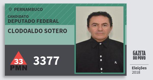 Santinho Clodoaldo Sotero 3377 (PMN) Deputado Federal   Pernambuco   Eleições 2018