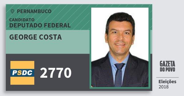 Santinho George Costa 2770 (DC) Deputado Federal | Pernambuco | Eleições 2018
