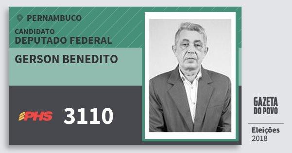 Santinho Gerson Benedito 3110 (PHS) Deputado Federal | Pernambuco | Eleições 2018