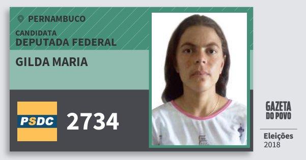 Santinho Gilda Maria 2734 (DC) Deputada Federal | Pernambuco | Eleições 2018