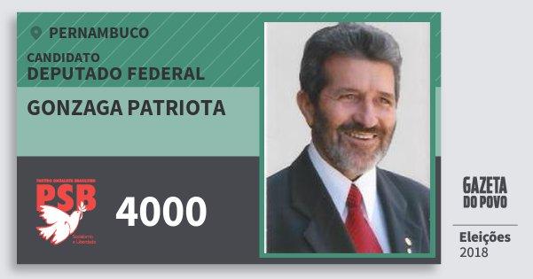 Santinho Gonzaga Patriota 4000 (PSB) Deputado Federal | Pernambuco | Eleições 2018