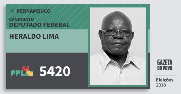 Santinho Heraldo Lima 5420 (PPL) Deputado Federal | Pernambuco | Eleições 2018