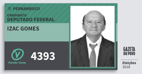 Santinho Izac Gomes 4393 (PV) Deputado Federal | Pernambuco | Eleições 2018