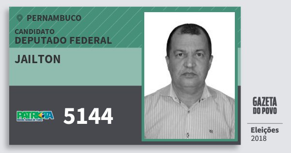 Santinho Jailton 5144 (PATRI) Deputado Federal   Pernambuco   Eleições 2018