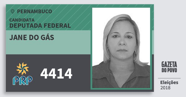 Santinho Jane do Gás 4414 (PRP) Deputada Federal | Pernambuco | Eleições 2018